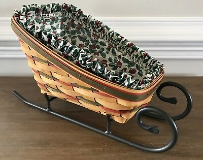 Longaberger Large Holiday Sleigh Basket Combo Holly Liner Wrought Iron Runners