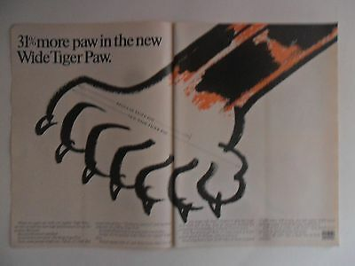 1968 Print Ad Uniroyal Tiger Paw Tires ~ 31% More Paw Wide Tiger Paw ART