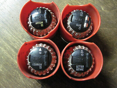 IBM Selectric I & II Typewriter Ball Font LOT OF 3 With IBM Ball holders