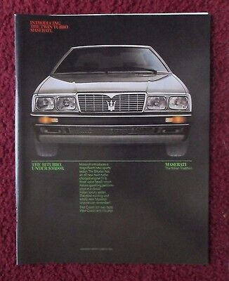 1984 Print Ad Maserati Bituro Car Automobile ~ Twin Turbo Italian Tradition