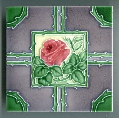 "Relief moulded 6""sq Art Deco tile by Richards Tiles, c1930"