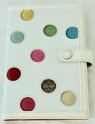 Coach Polka Dot Leather Agenda Cover Address Date Book Planner Organizer