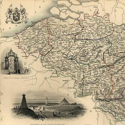 Belgium Waterloo Low Countries c.1850 Tallis Rapkin decorative map hand colored