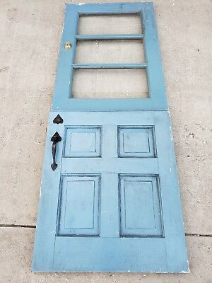 Dutch Door, Original Hardware, 3 Panes Glasses, Without Key, Antique, Size:30x80