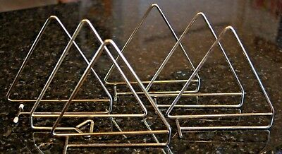 Set of 6 Mid Century Modern Minimalist Vintage Gold Tone Metal Triangle Bookends