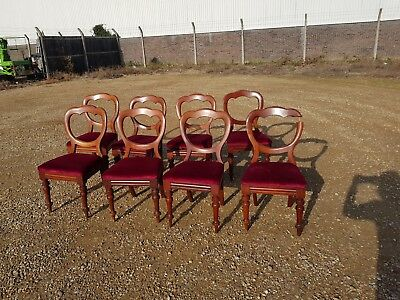 Antique vintage set of 8 Victorian mahogany balloon back dining chairs