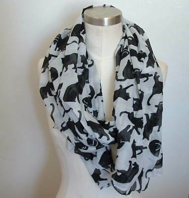 New Black  White Cat Clowder Cats Kitten Print Chiffon Fashion Scarf Shawl Wrap