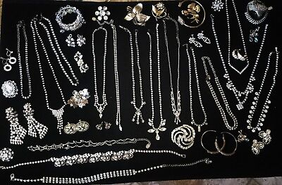 Beautiful Huge Crystal Rhinestone 52 pc Vintage/Antique Jewelry Lot to wear now