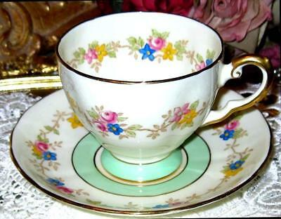 Tuscan Footed Tea Cup & Saucer Pink Roses Garland Pistachio Lime Teacup