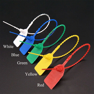 100x 25cm Plastic Security Tags Numbered Pull Ties Secure Anti-Tamper Seals