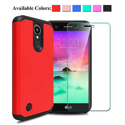 For LG K20 Plus / K20 V Shockproof TPU Case With Tempered Glass Screen Protector