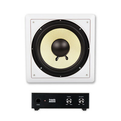 "Acoustic Audio HD-S10 In Wall 10"" Home Passive Subwoofer Speaker and Amplifier"