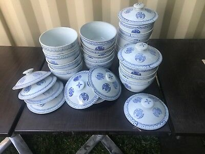 20 x Round Bowls with Lids Blue Print ST Brand Commercial Soup Bowl 185mm China