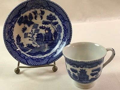Vintage Maruta Occupied Japan Sm. Tea Cup & Saucer Blue Willow