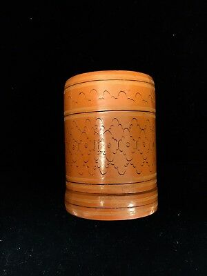 Antique Chinese Lacquered Paper Mache Canister Box