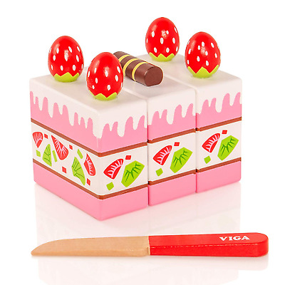 Viga Toys Strawberry Cake 3 Velcro Attachable Pieces Pretend Food Play Tea Party Baby