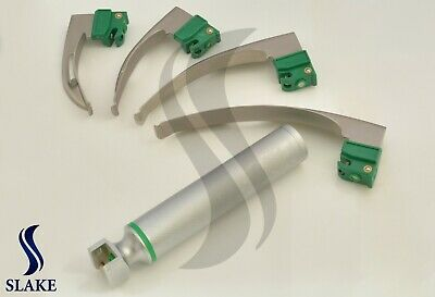 New Fiber Optic Mac Laryngoscope Set (LED Light) White set of 5