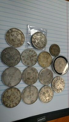 Chinese Ancient Silver?Coins Yuan Dynasty Province Mace Tael Year Lot of 14