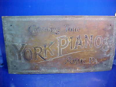 Early 20thc YORK PIANOS Etched BRASS Advertising SIGN 26 x 14