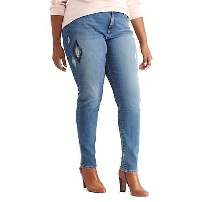 NEW Womens Chaps Blue Jeans Stretch Skinny Plus Size 16 18 20 22 24 SHIPS FAST