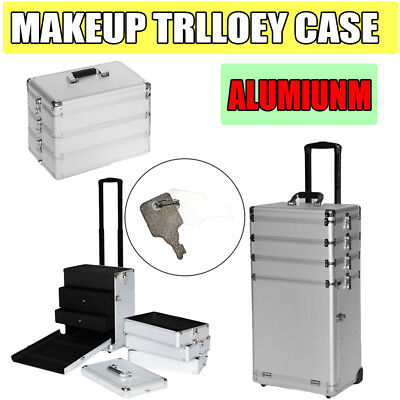 4-in-1 Rolling Makeup Case Box Cosmetic Organizer Travel Large Beauty Storage US