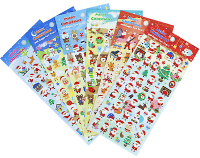 Christmas Stickers 6 Sheets with Snowman and Reindeer Happy Faces Kids Santa...
