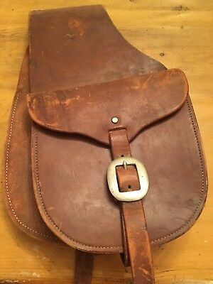 Vintage Small Leather Brown Saddle Bags