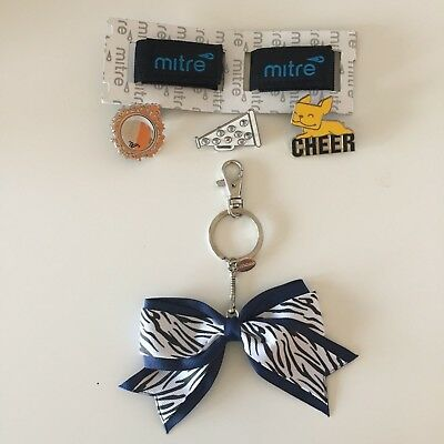 Lot of 6 Cheer Accessories 3 Varsity Pins 1 Bow Key Chain 2 Sleeve Holders