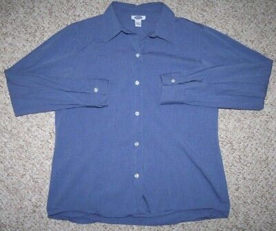 Old Navy Dress Shirt Blue Womens Top Cotton Button Front Large Woman Long Sleeve