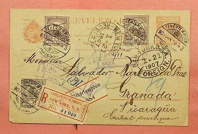 1907 Usa Ny Registered Label On Hungary Postal Card Fehertemplom To Nicaragua
