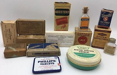 Lot Vtg Medical Supplies Medicine Bottle Box Tin Military WW2 Gauze Dressings