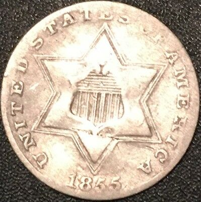 1855 Silver Three Cent Piece//rare Key Date//very Fine//fast Free Shipping!