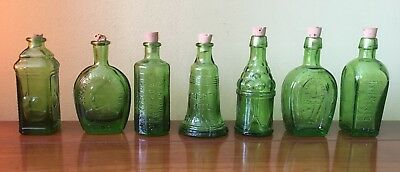Vintage Wheaton Glass Green Miniature Mini Small Figural Antique Bottle Lot 7