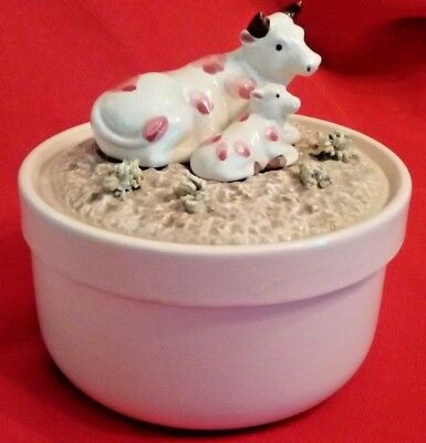 Vintage Fitz And Floyd Round Trinket Box w/Cow & Calf Decorated Top