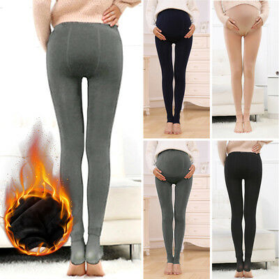 Winter Pregnant Woman's Thicken Warm Trousers Fleece Lined Maternity Pants Black
