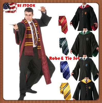 Harry Potter Hogwarts Robe Costumes Adult Kids Wizard Cape Cloak Xmas COS Gift