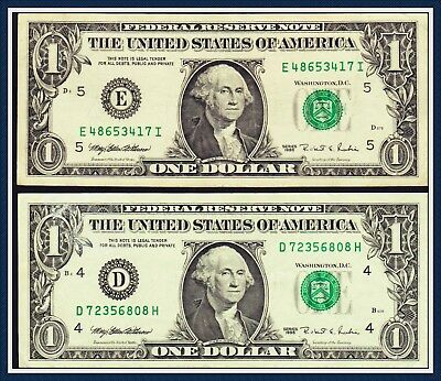 United States of America 2 x One Dollar Banknote series 1995 Different Serial nr