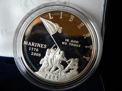 2005-P  Marine Corps 230th Anniversary PROOF Commemerative Silver  Dollar (BK)