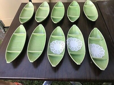 Serving Dessert Entree Plate Bowls GREEN Ceramic Bowl 275mm Long from Thailand