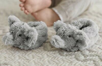 Pottery Barn faux fur Elephant Baby Slippers 6-12 Months