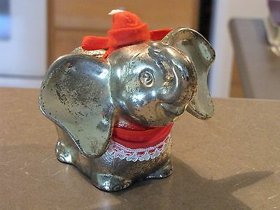 Dumbo Cast Metal Silver Bank With Original Stopper - with Red Hat and Bib