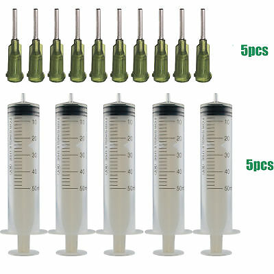 """5x 50ml Syringe Injector with 0.5"""" 13mm 14G Blunt Needles Tips Ink Cartridge DIY"""