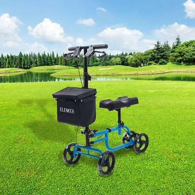 ELENKER Economy Knee Walker Steerable Medical Scooter Crutch Alternative Blue