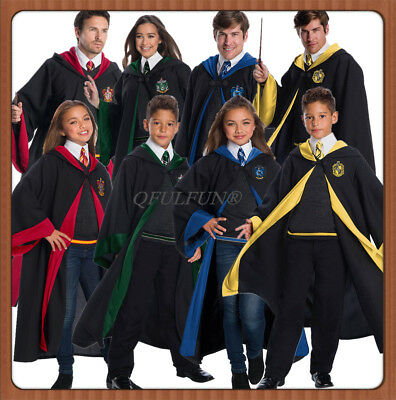 Harry Potter Gryffindor Slytherin Robe Cape Tie for Adult Kid School COS Costume