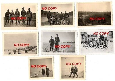 Lot de 8 photos WW2 Berck-sur-Mer/plage (Pas-de-Calais) allemand occupation