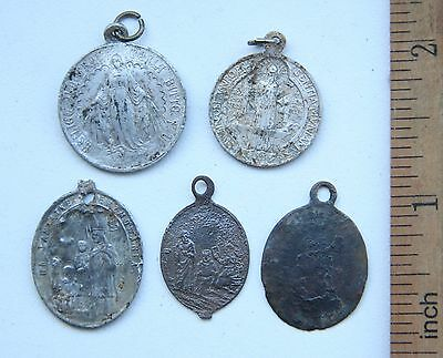 Group Of Ancient Old Catholic Medallion Pendant Scapular Szkaplerz (DEC03)