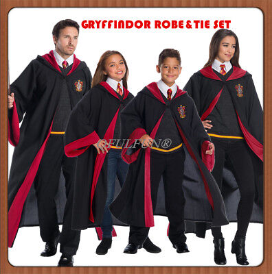 Harry Potter Hermione Gryffindor Robe Cloak Tie Set Adult Kid School COS Costume