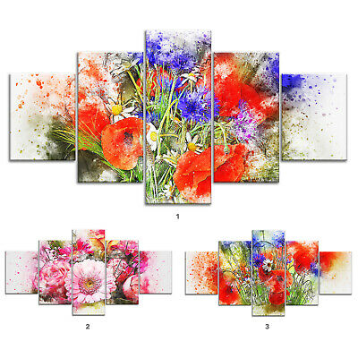 Flower Bouquet Abstract Canvas Print Painting Framed Home Decor Wall Art 5Pcs