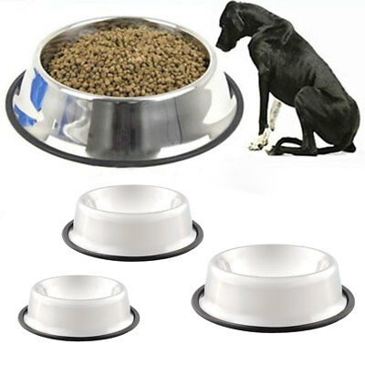 Pet Cat Dog  Stainless Steel Food Water Bowl Dish Non Slip Feed Feeder