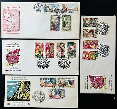 Laos Lao Indochina 4 First Day Cover Letter Lettre France Very Fine FDC